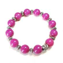Load image into Gallery viewer, Dark Pink Mountain Jade Gemstone Stretch Bracelet w An Owl Ap. 21cm