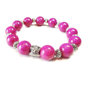 Dark Pink Mountain Jade Gemstone Stretch Bracelet w An Owl Ap. 21cm