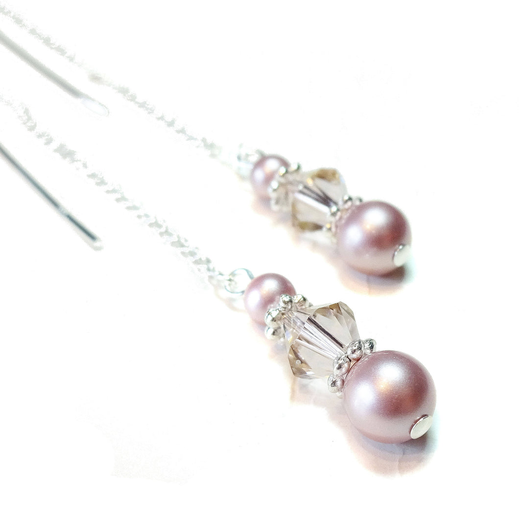 Dusty Pink Swarovski Pearl & Sterling Silver Long Drop Chain Ear Threads - 150mm