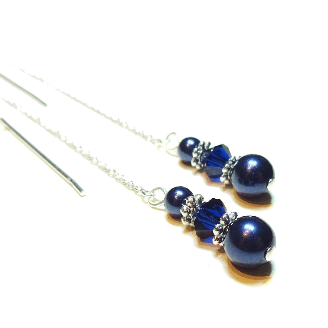 Midnight Blue Swarovski Pearl & Sterling Silver Long Drop Chain Ear Threads - 150mm