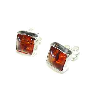 Square Sterling Silver Gemstone Stud Earrings - Amber - 6mm