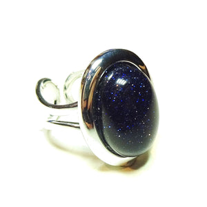 Blue Goldstone Cabochon Adjustable Ring 23 x 17mm