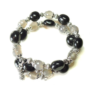 Gemstone Wrap Bangle with Black Agate & Grey Agate