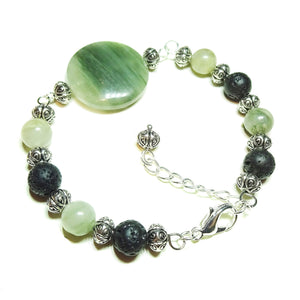 Green Rutilated Quartz & Lava Gemstone Essential Oil Diffuser Wire Bangle