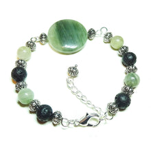 Load image into Gallery viewer, Green Rutilated Quartz & Lava Gemstone Essential Oil Diffuser Wire Bangle