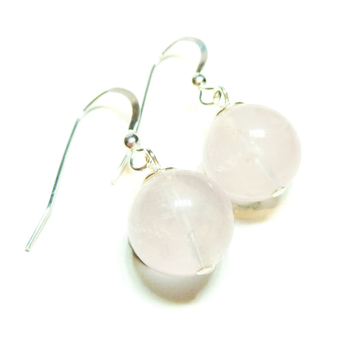 Pink Rose Quartz & Sterling Silver Gemstone Ball Drop Earrings - 12mm