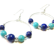 Load image into Gallery viewer, Blue Lapis Lazuli & Turquoise Gemstone Hoop Earrings 40mm