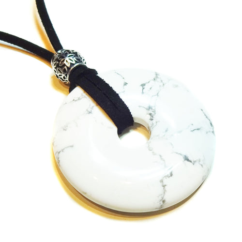 White Howlite Large Round Gemstone Donut Pendant -  50mm