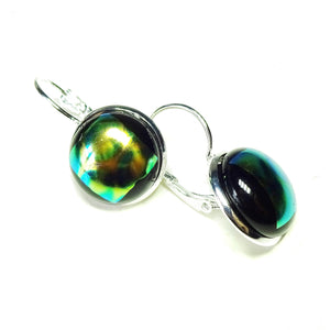 Dichroic Glass Lever Back Earrings - Green, Yellow & Black