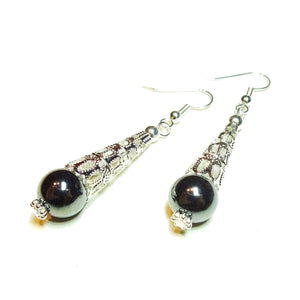 Grey Haematite Gemstone Filigree Earrings