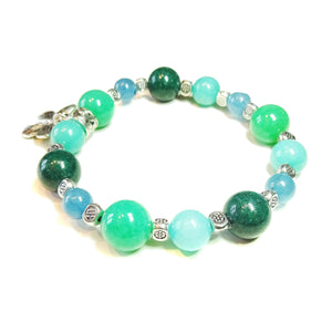 Gemstone Power Bracelet - Quartz & Apatite - Healing, Clarity, Motivation Ap. 20.5cm