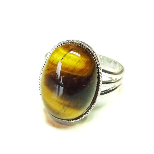 Tiger's Eye Gemstone Statement Ring - Adjustable 18 x 13mm