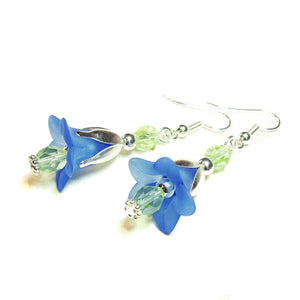 Blue & Green Vintage Style Lucite Lily Flower Earrings