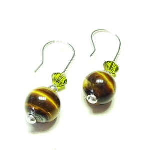 Brown Tiger's Eye Gemstone, Green Swarovski Crystal & Sterling Silver Drop Earrings