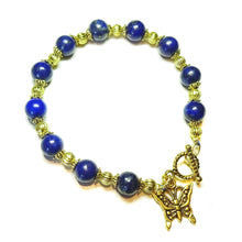 Load image into Gallery viewer, Blue Lapis Lazuli & Antique Gold-Tone Gemstone Bracelet 20cm