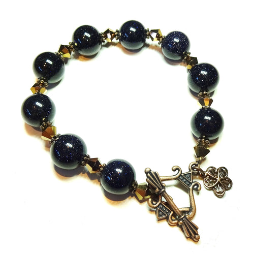 Dark Blue Goldstone & Copper Crystal Bracelet 20.5cm