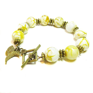 Yellow Leopard Jasper Gemstone & Antique Brass Bracelet 20.5cm
