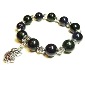 Blue & Green Sparkly Goldstone Handcrafted Stretch Bracelet 20cm