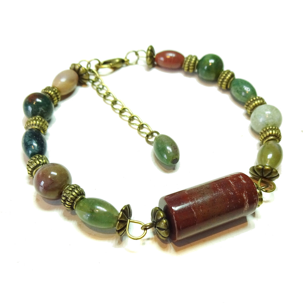 Gemstone Wire Bangle - Indian Agate & Brass