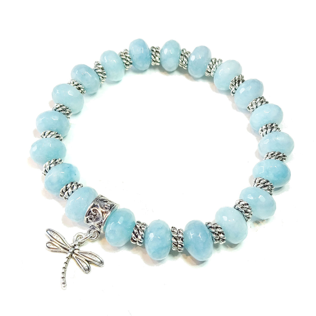 Sky Blue Faceted Quartz Gemstone Stretch Bracelet Approx. 20cm