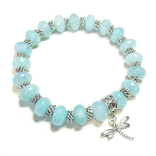 Load image into Gallery viewer, Sky Blue Faceted Quartz Gemstone Stretch Bracelet Approx. 20cm