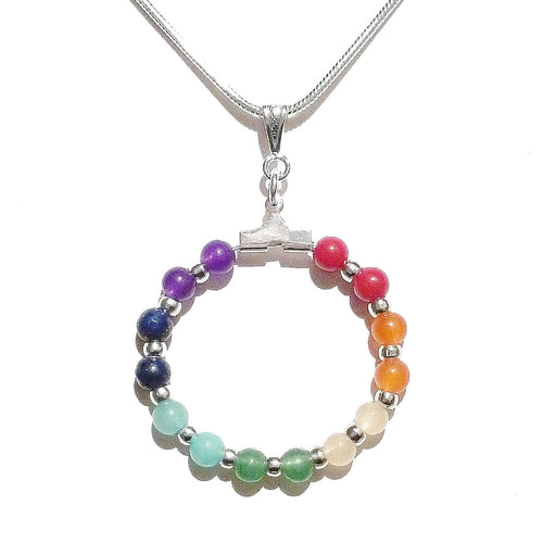 Semi-precious Gemstone Rainbow Hoop Chakra / Meditation Pendant 30mm