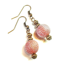 Load image into Gallery viewer, Red Crazy Agate Gemstone & Copper Earrings