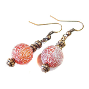Red Crazy Agate Gemstone & Copper Earrings
