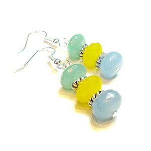 Blue, Yellow & Green Faceted Jade Gemstone Earrings