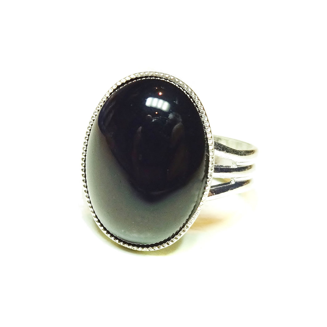 Black Onyx Gemstone Statement Ring - Adjustable 18 x 13mm