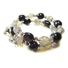 Load image into Gallery viewer, Gemstone Wrap Bangle with Black Agate & Grey Agate
