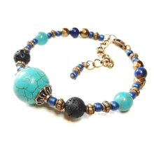 Load image into Gallery viewer, Gemstone Essential Oil Diffuser Wire Bangle - Turquoise, Lapis Lazuli & Copper