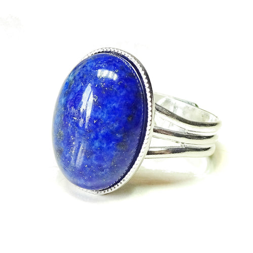 Blue Lapis Lazuli Gemstone Statement Ring - Adjustable 18 x 13mm