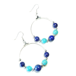 Blue Lapis Lazuli & Turquoise Gemstone Hoop Earrings 40mm