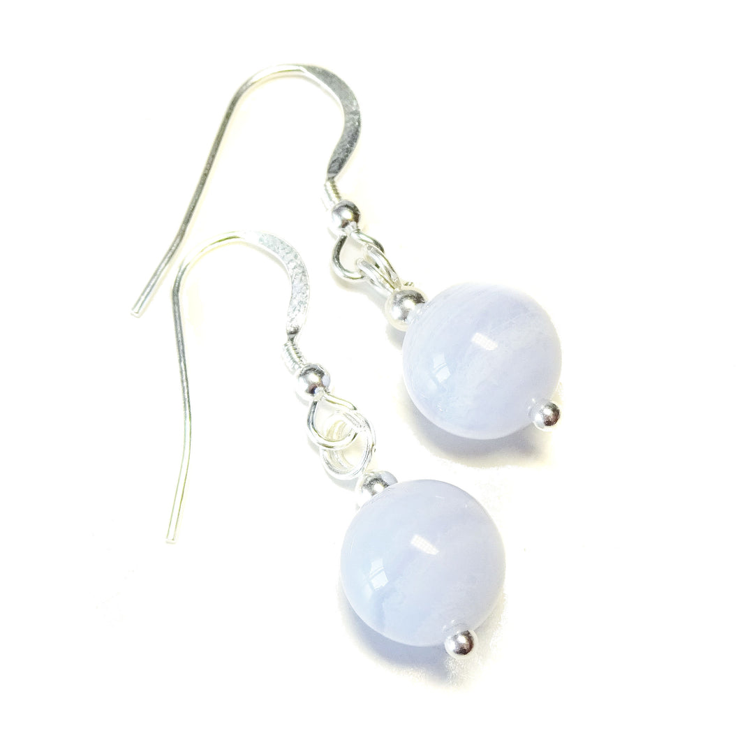 Blue Lace Agate & Sterling Silver Gemstone Ball Drop Earrings - 10mm