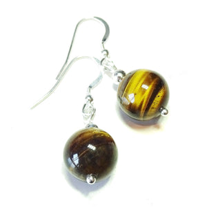 Brown Tiger's Eye & Sterling Silver Gemstone Ball Drop Earrings -  12mm