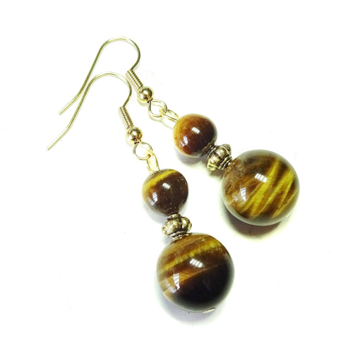 Brown Tiger's Eye Gemstone & Antique Gold-Tone Earrings