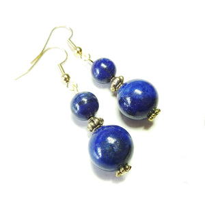 Dark Blue Lapis Lazuli Gemstone & Antique Gold-Tone Earrings