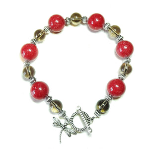 Red Mountain Jade & Smokey Quartz Gemstone Bracelet 21.5cm