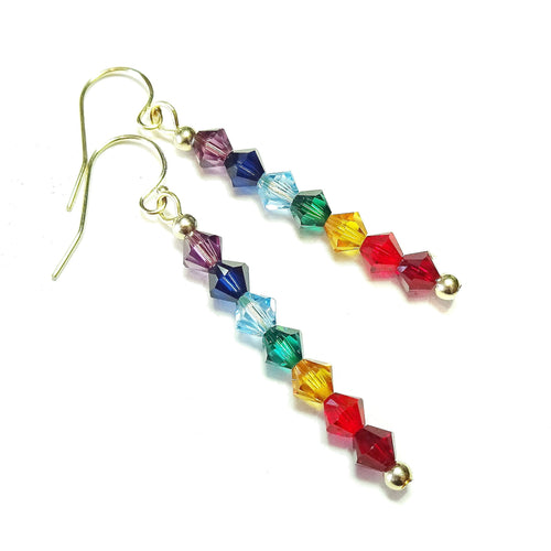 Rainbow Swarovski Crystal & Gold Filled Chakra Earrings
