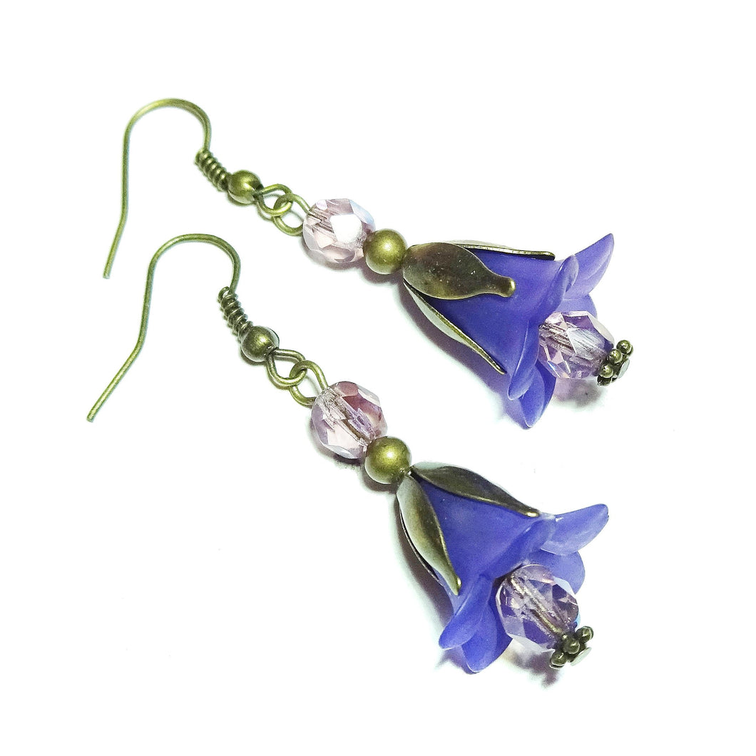 Purple Vintage Style Brass & Lucite Flower Drop Earrings