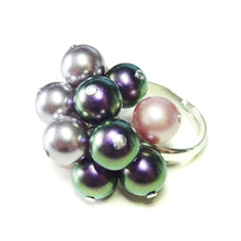 Load image into Gallery viewer, Purple, Lilac & Pink Swarovski Pearl Cha Cha Ring - Adjustable