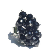 Load image into Gallery viewer, Black Crystal Cha Cha Cluster Ring - Adjustable