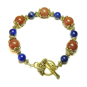 Lapis Lazuli, Brown Goldstone & Antique Gold-Tone Gemstone Bracelet 21.5cm