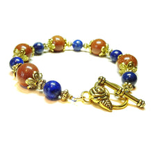 Load image into Gallery viewer, Lapis Lazuli, Brown Goldstone & Antique Gold-Tone Gemstone Bracelet 21.5cm