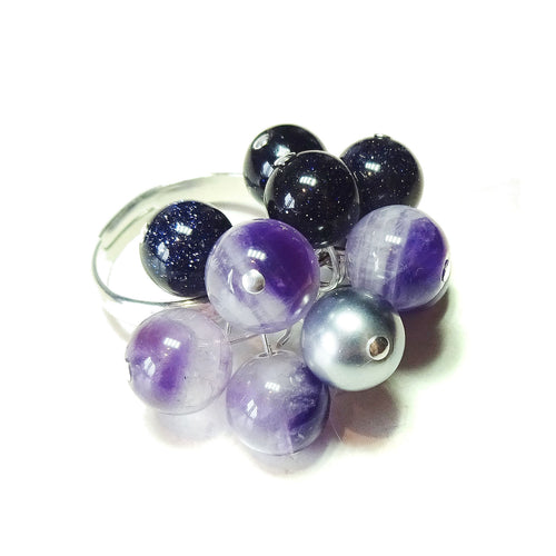 Amethyst, Blue Goldstone & Silver Pearl Cha Cha Ring - Adjustable