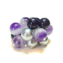 Load image into Gallery viewer, Amethyst, Blue Goldstone & Silver Pearl Cha Cha Ring - Adjustable