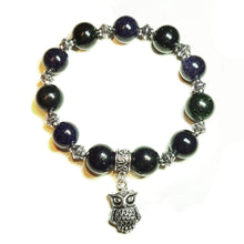 Load image into Gallery viewer, Blue & Green Sparkly Goldstone Handcrafted Stretch Bracelet 20cm