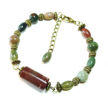 Load image into Gallery viewer, Gemstone Wire Bangle - Indian Agate & Brass