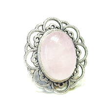 Load image into Gallery viewer, Pink Rose Quartz Gemstone Antique Silver-Tone Filigree Ring